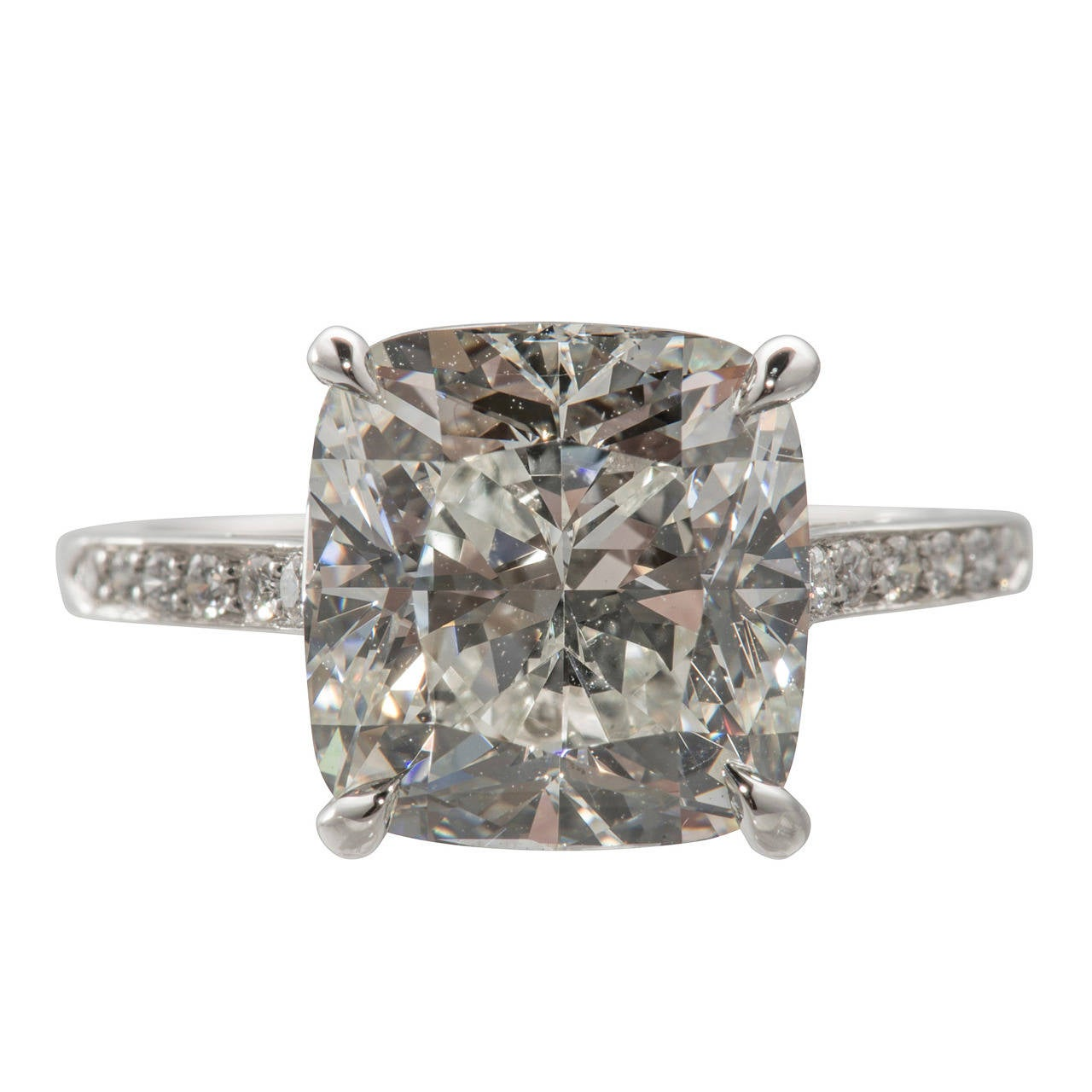 GIA Cert Cushion Cut 6.04 Carat Diamond  Engagement Ring For Sale