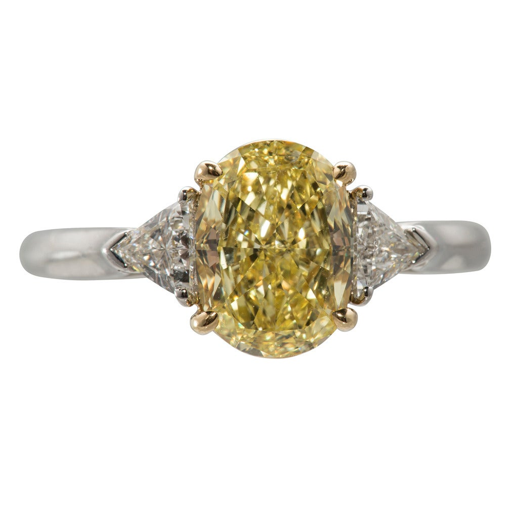 Tiffany & Co. Fancy Intense Yellow Diamond Gold Platinum Ring 1