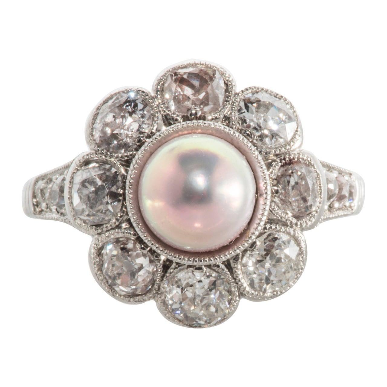 Natural Pink Pearl Diamond Platinum Cluster Ring 1
