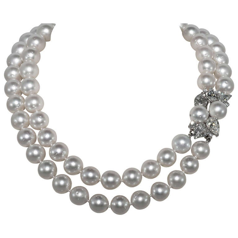 Stunning double strand south sea pearls and diamond necklace for stunning double strand south sea pearls and diamond necklace for sale aloadofball Gallery
