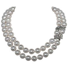 Stunning Double Strand South Sea Pearls and Diamond Necklace