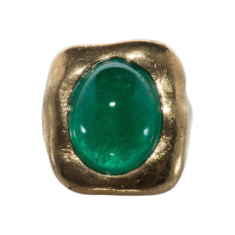 jean mahie yellow gold and cabochon emerald ring at