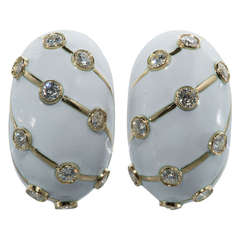 White Enamel and Diamond Earrings