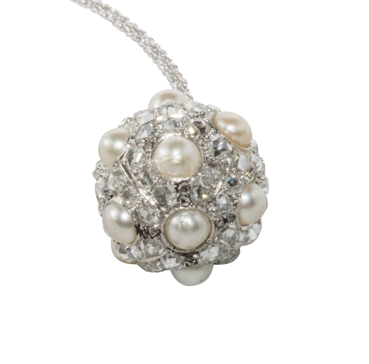Pearl Platinum: Natural Pearl Diamond Platinum Sphere Drop Necklace At 1stdibs