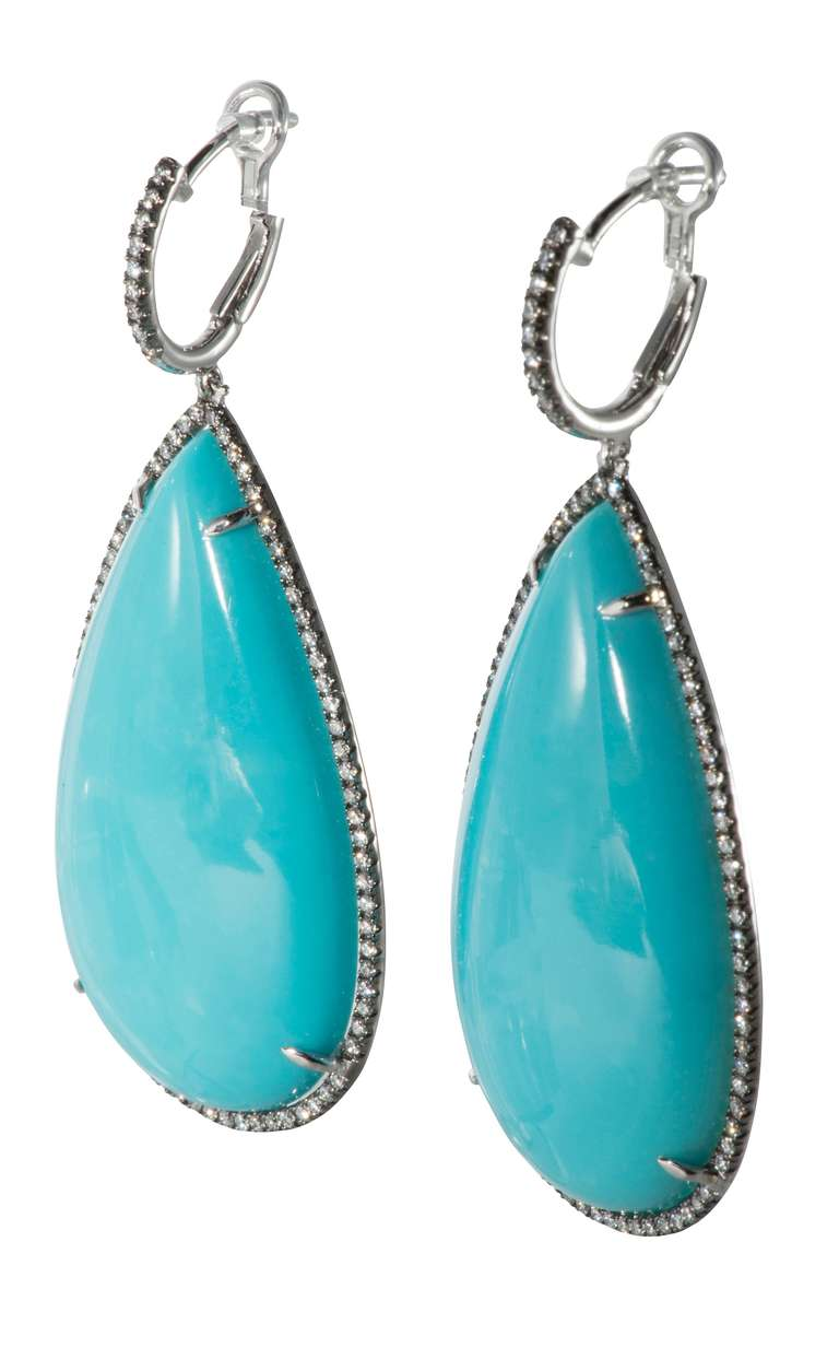 Turquoise Diamond Drop Earrings At 1stdibs