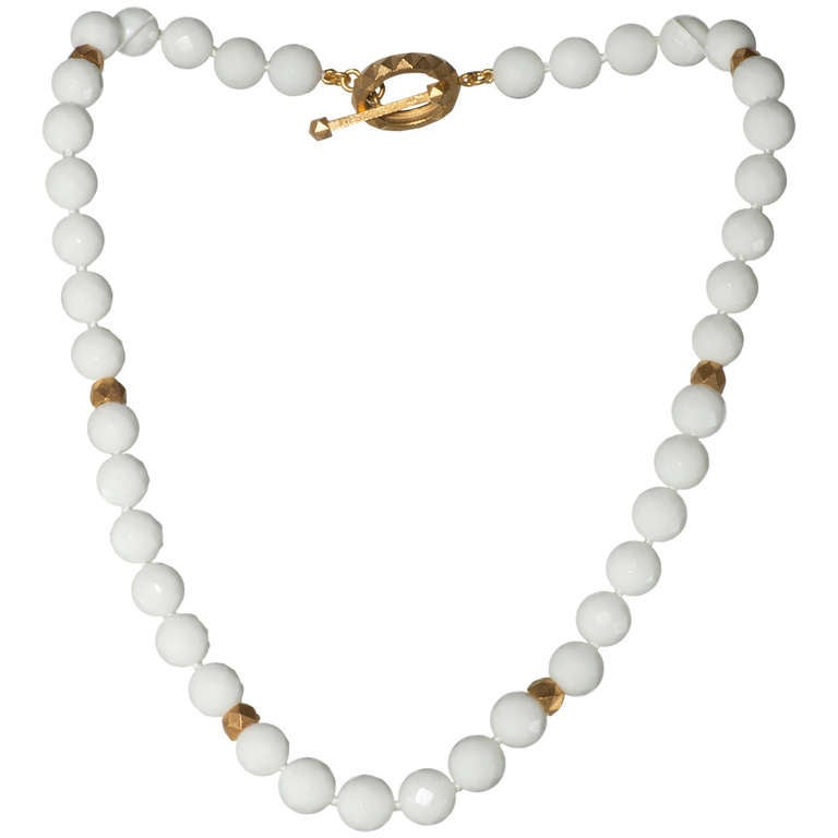 white agate bead necklace at 1stdibs