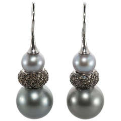 Tahitian Pearl Diamond Drop Earring