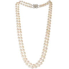 Double Strand of Akoya Pearls with Opal Beads