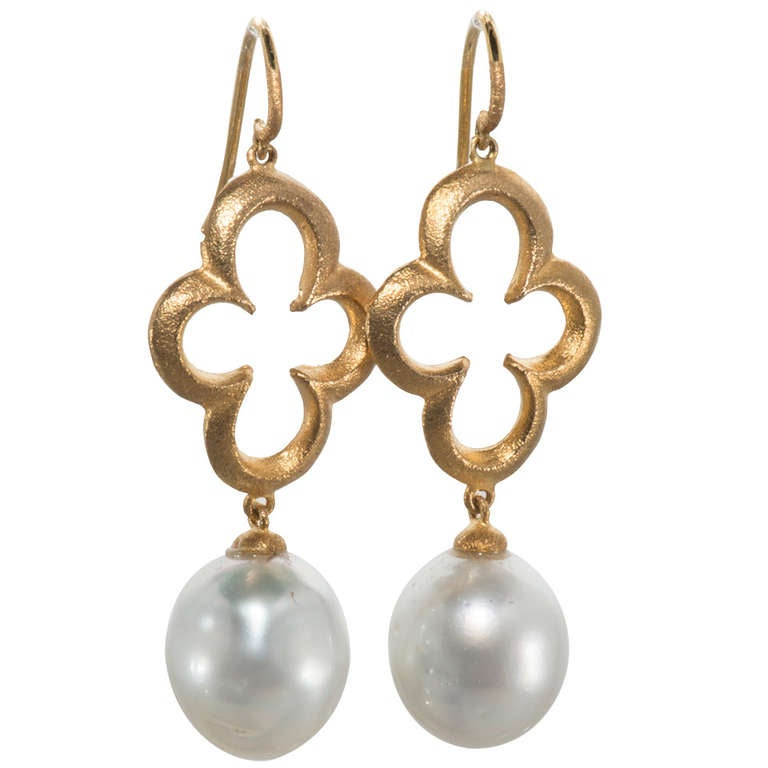 Gold and Baroque Pearl Drop Earrings For Sale