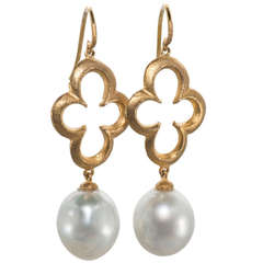 Gold and Baroque Pearl Drop Earrings