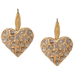 Diamond gold Heart Shaped Drop Earrings