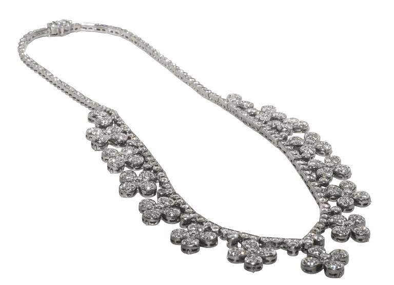 Flower Head Diamond White Gold Necklace 2