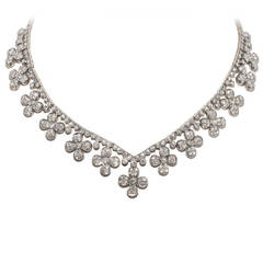 Flower Head Diamond White Gold Necklace