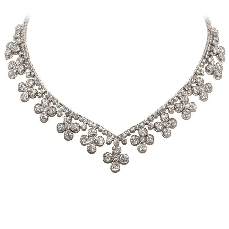 Flower Head Diamond White Gold Necklace 1