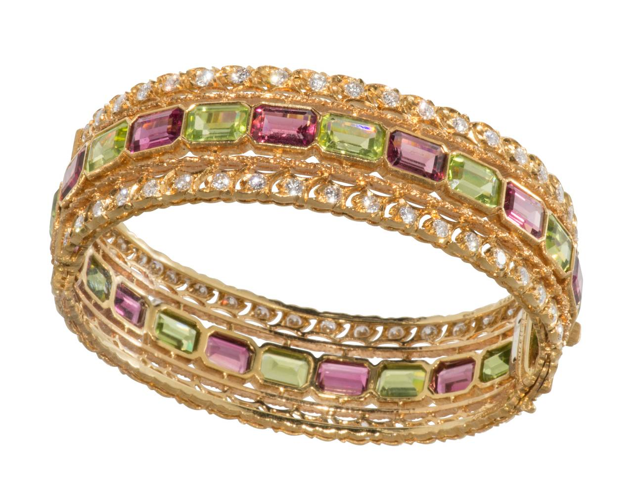 Buccellati Rubelite Peridot Diamond Gold Bracelet In Excellent Condition For Sale In Houston, TX