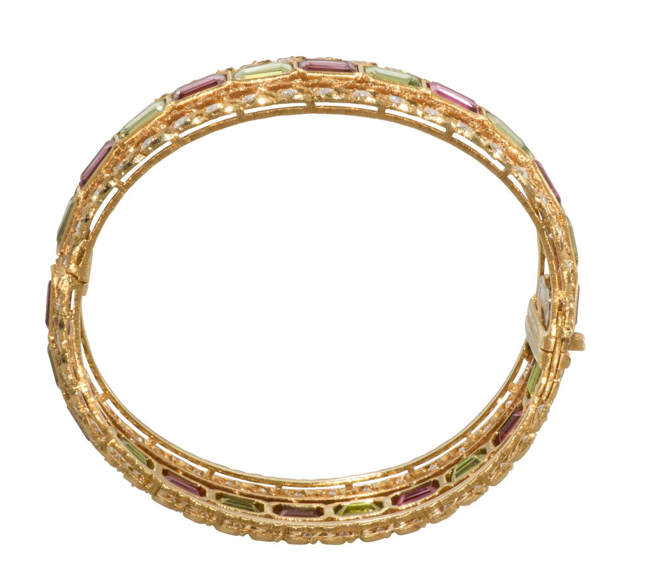 Women's Buccellati Rubelite Peridot Diamond Gold Bracelet For Sale