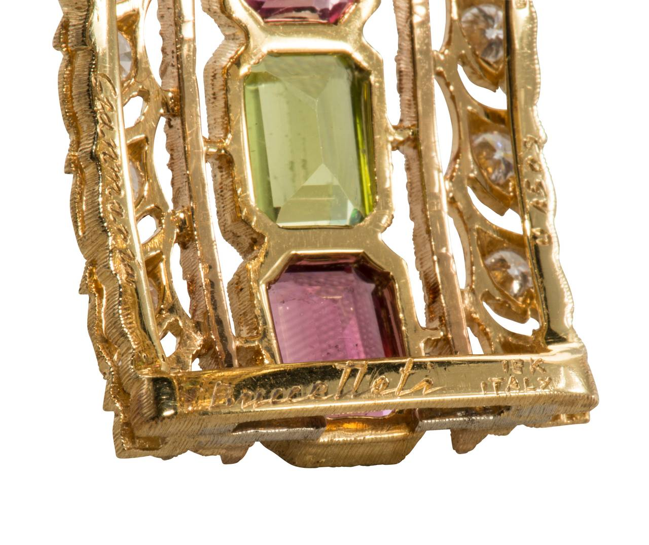 Buccellati Rubelite Peridot Diamond Gold Bracelet For Sale 1