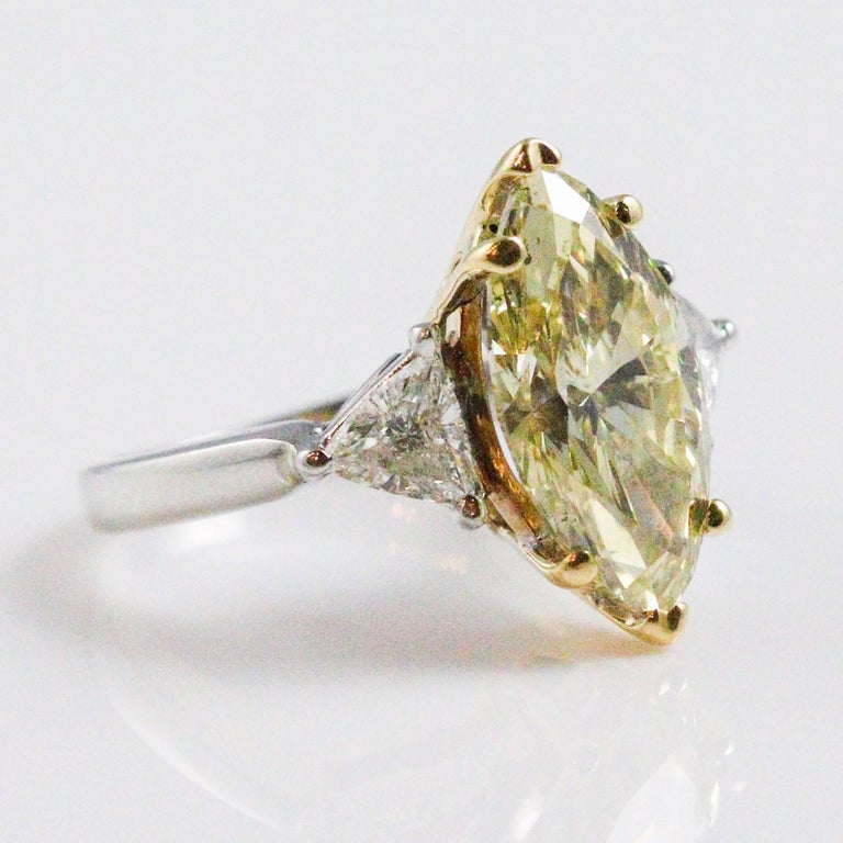 fancy ring brownish engagement view diamond cushion cut c yellow photos