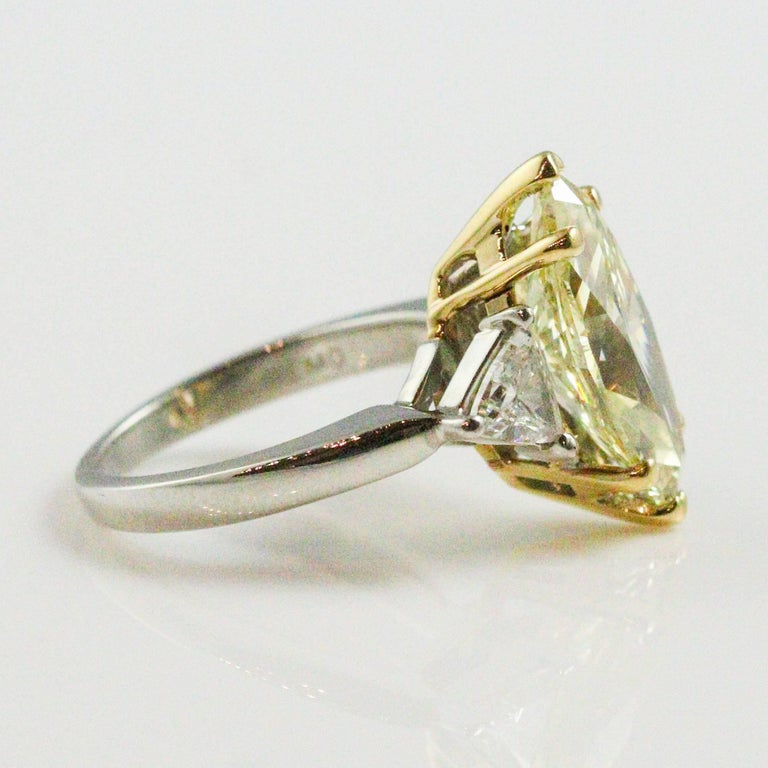 3.60 Carat GIA Certified Marquise Cut Fancy Light Brownish Yellow Diamond Ring In Excellent Condition For Sale In Birmingham, AL