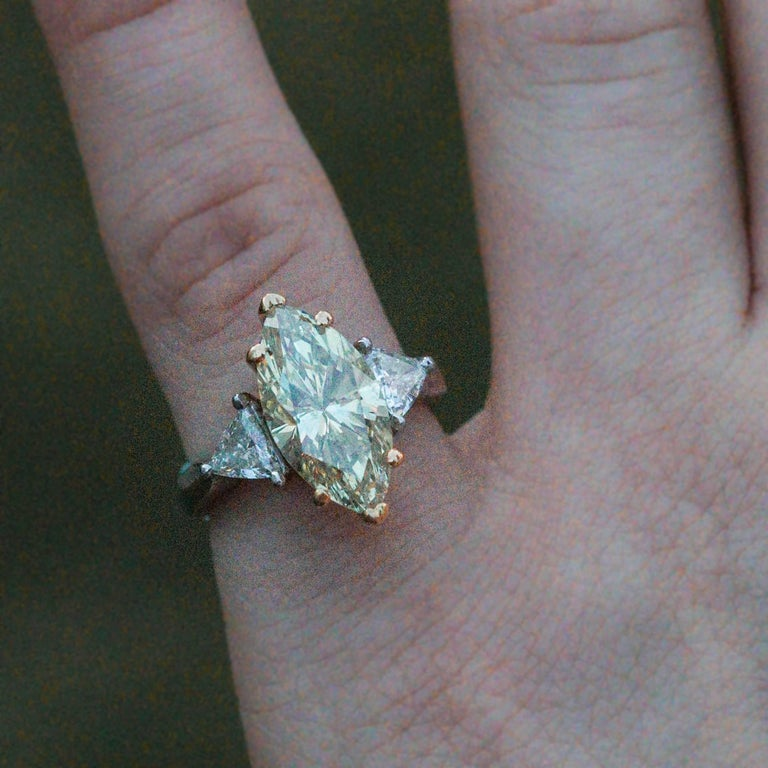 3.60 Carat GIA Certified Marquise Cut Fancy Light Brownish Yellow Diamond Ring For Sale 2