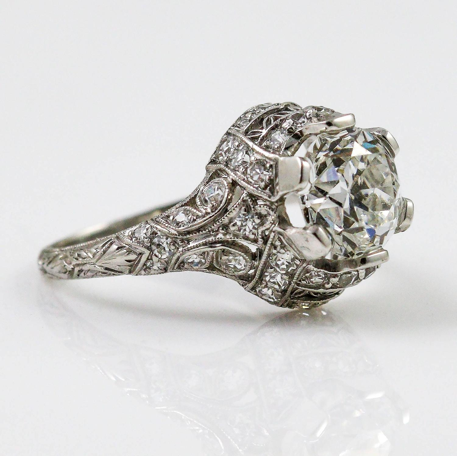 Edwardian GIA Cert Carat Diamond Platinum Engagement Ring For Sale At 1s