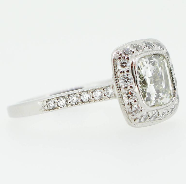 Tiffany & Co. 1.62 Carat Legacy Cushion Cut Platinum Halo-Style Engagement Ring 2
