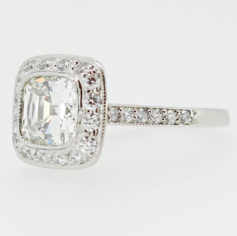 Tiffany Co 1 62 Carat Legacy Cushion Cut Platinum Halo Style Engagement Ring