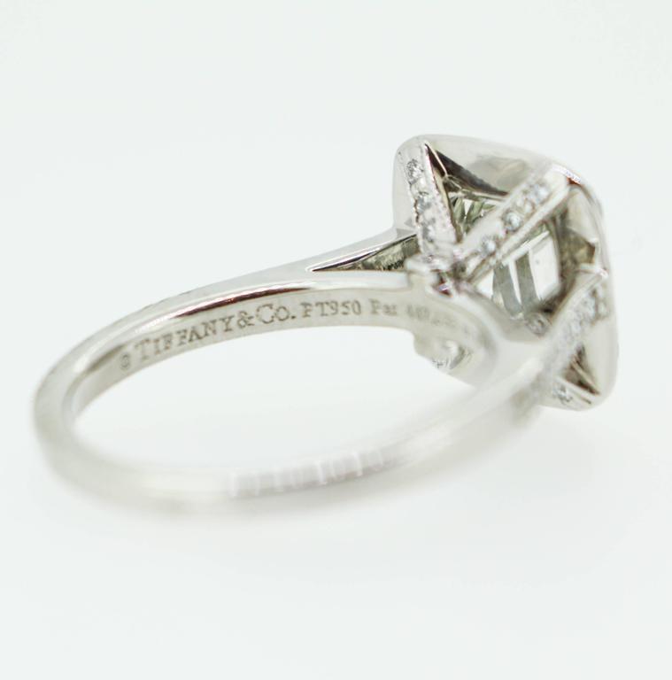 Tiffany & Co. 1.62 Carat Legacy Cushion Cut Platinum Halo-Style Engagement Ring 4