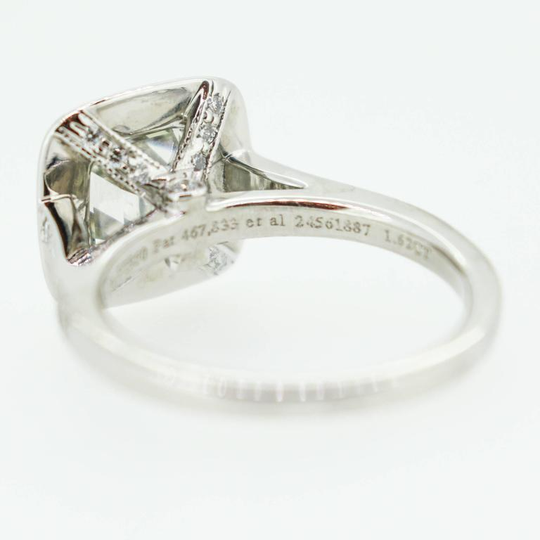 Tiffany & Co. 1.62 Carat Legacy Cushion Cut Platinum Halo-Style Engagement Ring 8