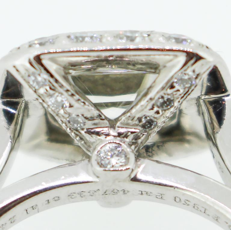 Tiffany & Co. 1.62 Carat Legacy Cushion Cut Platinum Halo-Style Engagement Ring 9