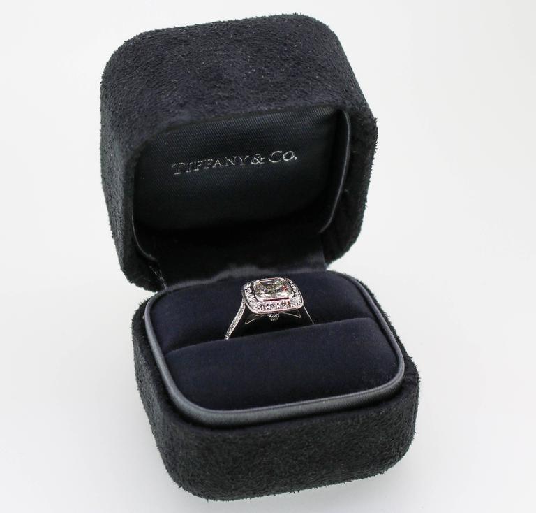 Tiffany & Co. 1.62 Carat Legacy Cushion Cut Platinum Halo-Style Engagement Ring 10