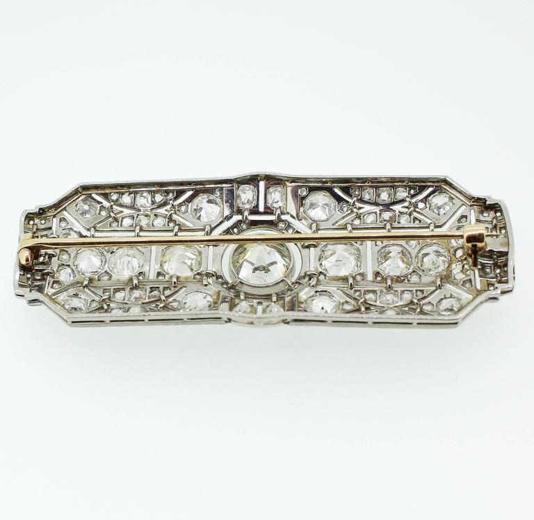 Art Deco Black Enamel 8.00 Carats Diamonds Platinum Filigree Brooch In Excellent Condition For Sale In Birmingham, AL