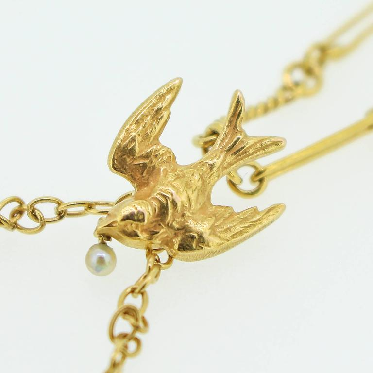 Art Nouveau Gold Swallow Motif Lavalier Style Necklace 2