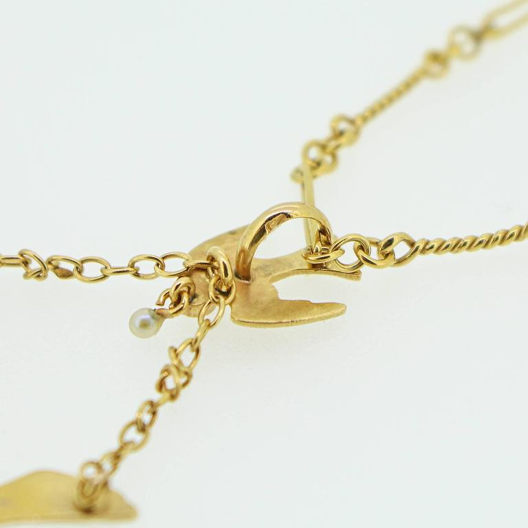 Art Nouveau Gold Swallow Motif Lavalier Style Necklace 6