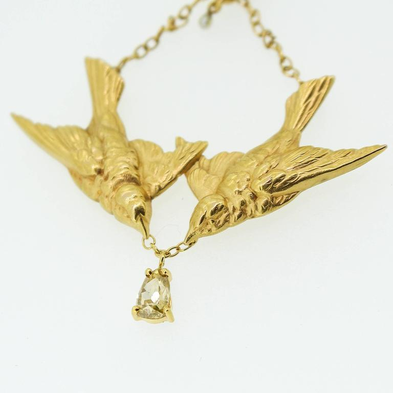 Art Nouveau Gold Swallow Motif Lavalier Style Necklace 7