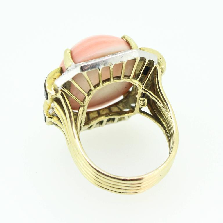 Modernist  Gold Coral Black Onyx  Diamond Ring 3