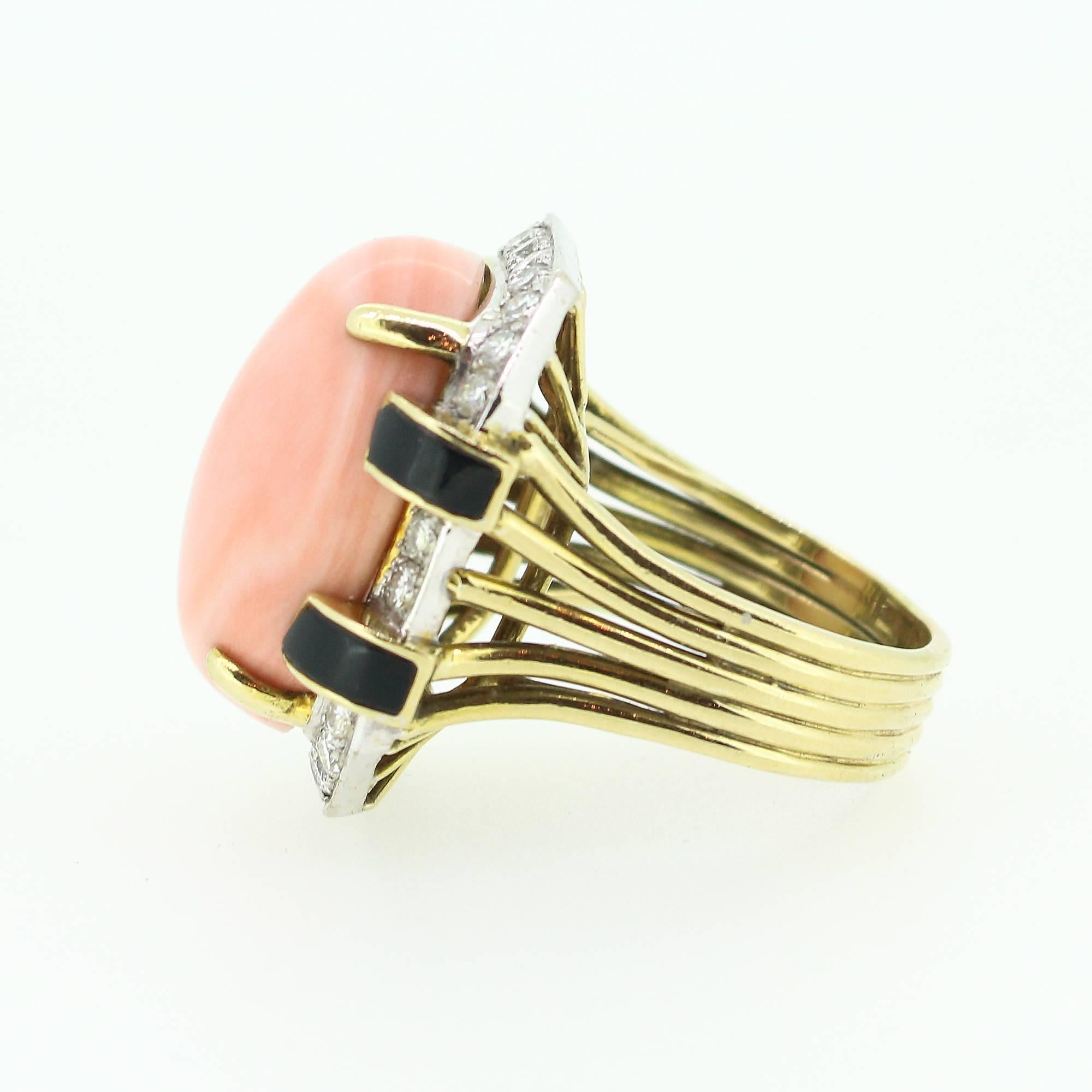 coral ring mona diamond lisa rings jewelry