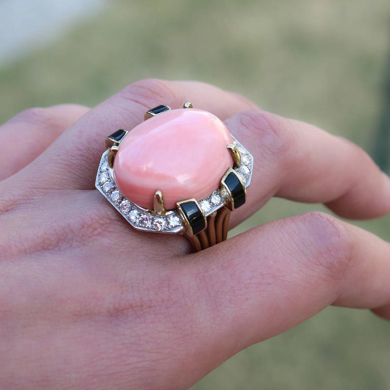 Modernist  Gold Coral Black Onyx  Diamond Ring 6