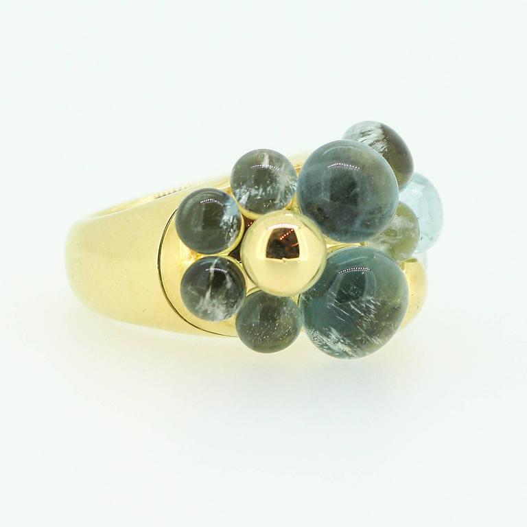 Pomellato Capri 18k Yellow Gold and Aquamarine Ring In Excellent Condition For Sale In Birmingham, AL