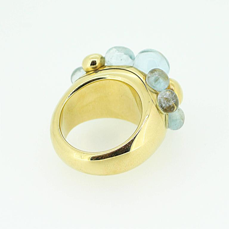 Modern Pomellato Capri 18k Yellow Gold and Aquamarine Ring For Sale