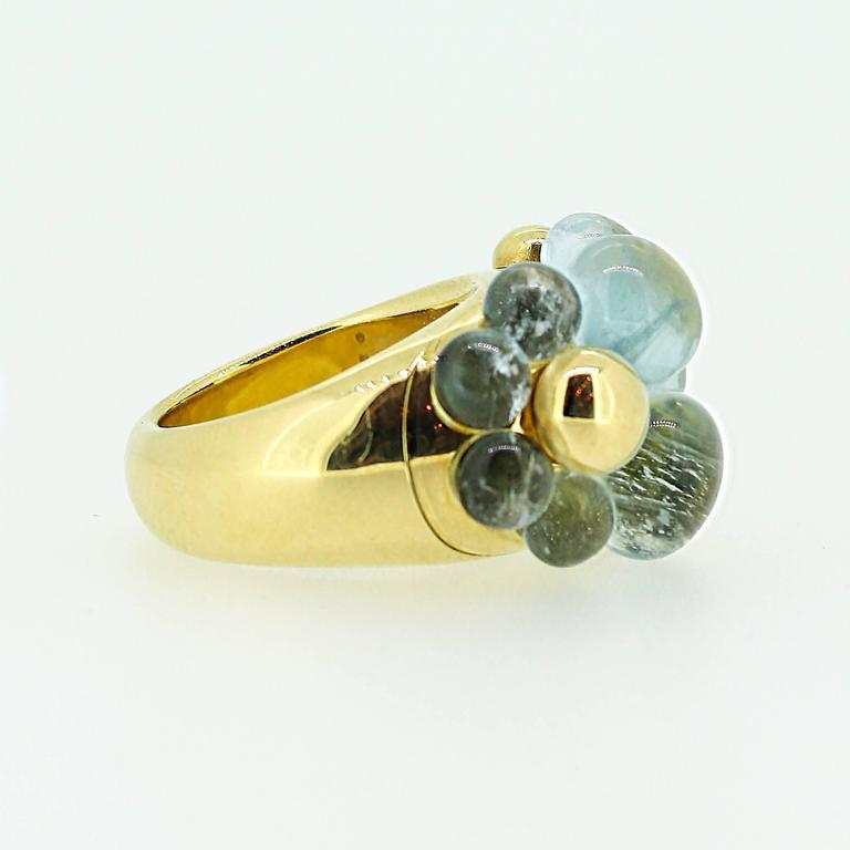 Pomellato Capri 18k Yellow Gold and Aquamarine Ring For Sale 3