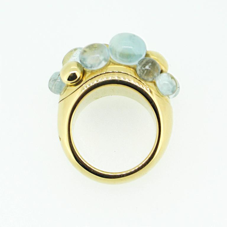 Pomellato Capri 18k Yellow Gold and Aquamarine Ring For Sale 4