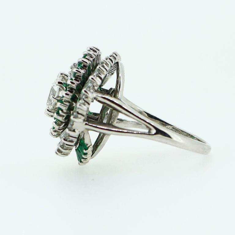 Women's 1950s  Emerald  Diamond Spiral Motif Ring For Sale