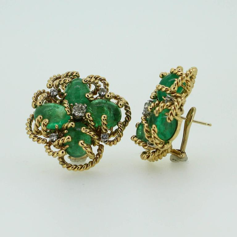 Women's 1970s Modernist Cabochon Emerald and Old Cut Diamond Clover-Motif Earrings For Sale