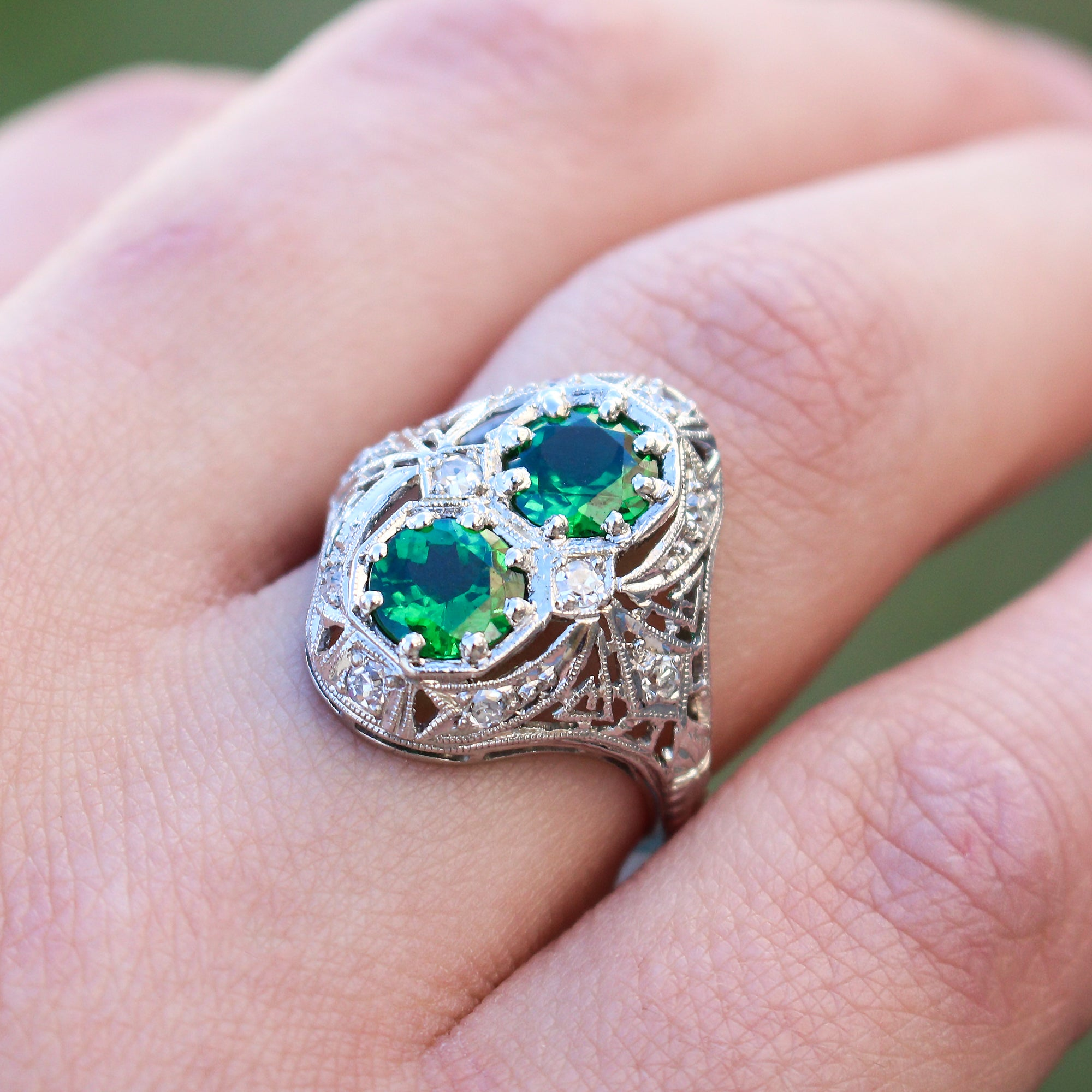 and product silver rings with tsavorite garnet alice goldsetting chunky tourmaline ring wide