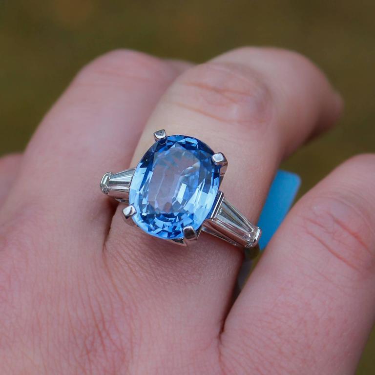Modern 8.45 Carat Ceylon Sapphire Baguette Cut Diamond Platinum Ring