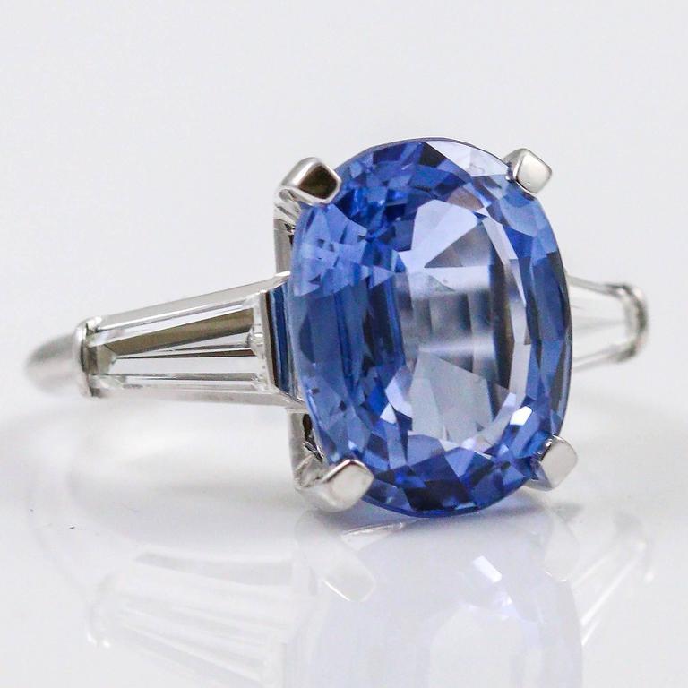 8.45 Carat Ceylon Sapphire Baguette Cut Diamond Platinum Ring In Excellent Condition In Birmingham, AL