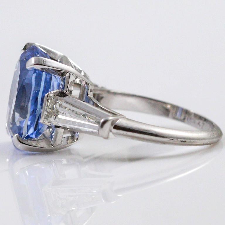 8.45 Carat Ceylon Sapphire Baguette Cut Diamond Platinum Ring 1
