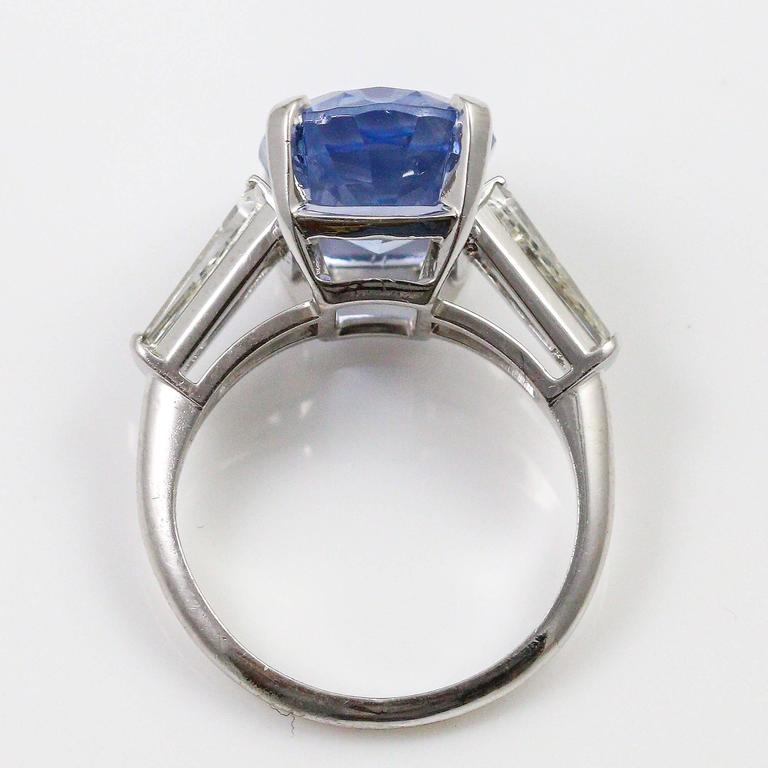 Women's or Men's 8.45 Carat Ceylon Sapphire Baguette Cut Diamond Platinum Ring