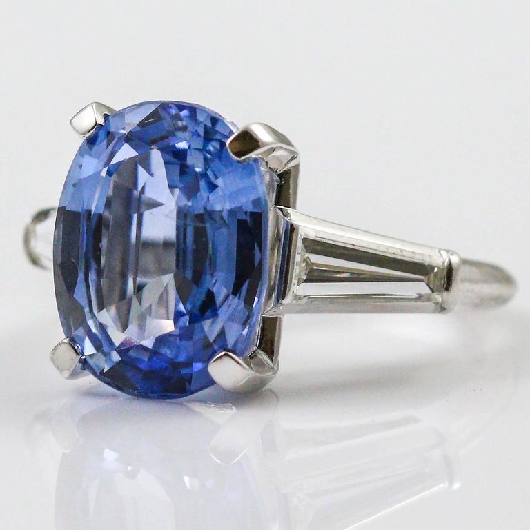 8.45 Carat Ceylon Sapphire Baguette Cut Diamond Platinum Ring 2